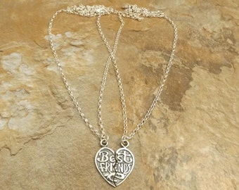 Two Sterling Silver Rolo Necklaces with Best Friends Matching Heart Pendants - 0996