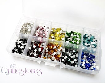 SUPER VALUE! Assorted Color Flat Back Rhinestones 1400pcs in Supreme Quality