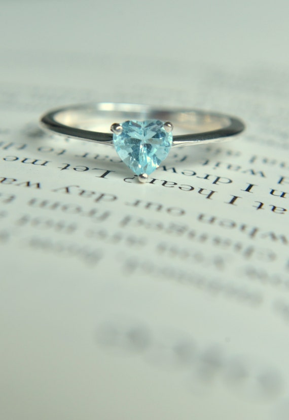 blue topaz promise ring sterling silver engagement ring size 5