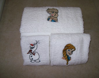 Frozen-Elsa, Anna, Olaf  3 Piece Embroidered Bath Towel Set - Personalized
