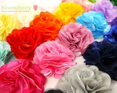 "10 pcs 3"" Silky Satin Mesh Flower - You Choose Color - Satin Mesh Flowers - 22 Colors Available - Hair Accessories Supplies"