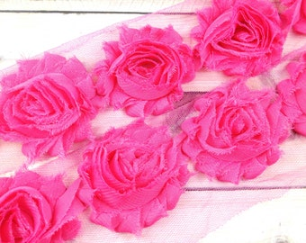 """2.5"""" Shabby Rose Trim- Hot Pink Color-  Hot Pink Shabby Rose Trim - Pink Chiffon Trim - Pink Flowers -Hair Accessories Supplies"""