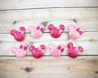 """1.5"""" Sequin Minnie Mouse with Bows Padded - Pink and Hot Pink - Size 1.5"""" -DIY Headband/Hair Bow/Hair Accessories Supplies"""