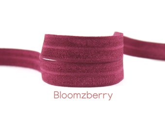 """5/8"""" Fold Over Elastic - Red Wine Color - Solid Fold Over Elastic - Wine Elastic FOE - Dark Red Elastic -Hair Accessories Supplies"""