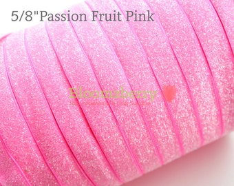 """5/8"""" Glitter Elastic  - Passion Fruit Pink Color -Pink Glitter Elastic - Pink Frosty Elastic -Hair Accessorie  Supplies"""