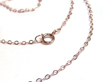"SALE Gold Filled Chain 18"" 1.3 mm Petite fine oval chain necklace w Spring Ring Clasp Sterling Silver Rose Gold Options"