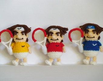 3 Pcs Red, Blue & Yellow Crochet Tennis Figure Roger Federer