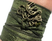 Bohemian Silk Wrap Bracelet Ganesha Yoga Jewelry Olive Green Sacred Elephant Buddha Unique Gift For Her Under 50 Item X12