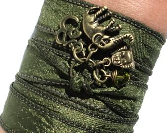 Bohemian Silk Wrap Bracelet Ganesha Yoga Jewelry Olive Green Sacred Elephant Buddha Unique Gift For Her Under 50 Item X12