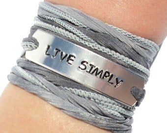 Live Simply Silk Wrap Bracelet Live Simple Love Words of Wisdom Inspirational Jewelry With Meaning Engraved  Gift For Her Under 50 C20