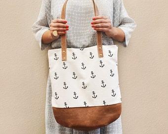 Anchor Print Genuine Leather Base Shoulder Bag