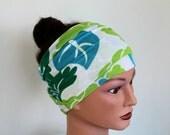 GREEN and BLUE Print Head Scarf - Print Hair Wrap - Yoga Headband - Bohemian Hair Accessories - Bohemian Hair Wrap - Boho Style Headscarf