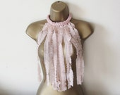 Frilly fringe fabric necklace, nude color, jabot necklace, bib, upcycled recycled repurposed eco friendly jewellery, one of a kind, for her.