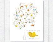 Fruit of the Spirit . fruit tree and birdies . Scripture print with Galatians 5:22-23
