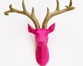 Faux Deer Head, Animal Head, Wall Mounted Stag, Glittered Deer Head, Stag Head, Pink Deer Head, Girls Room, Home Decor, Deer Head Australia