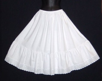 "Vintage Style White Cotton petticoat / Steampunk lengths available 23""-27"" longer lengths also available for 30's-40's style U.K. Size 10-20"
