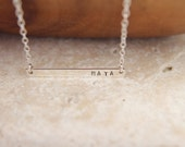 32x3mm -Nameplate Necklace,Sterling Silver,Initial Bar necklace,Personalized Necklace,Bridesmaid Gift,Mother's day Gift