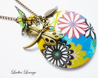 SALE Flower Power Hippie Wooden Necklace, wooden Flowers,Dragonfly, Summer Trends