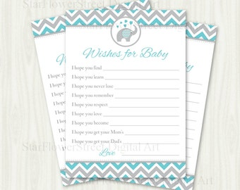 Wishes for Baby Chevron Elephant Boy little peanut aqua turquoise blue grey gray cards printable shower decoration party well wish advice