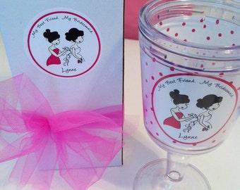 Personalized Gift Box Bridesmaid Wine Tumbler, Custom Illustrated Bridesmaids Glass
