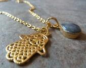 Labradorite and hamsa pendant.