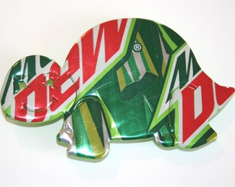 Mt. Dew - TURTLE MAGNET - from Recycled Soda Pop Can