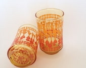2 Mod Libbey Juice Glass, Bolero Pattern, Amber, Breakfast, Psychedelic, Replacement