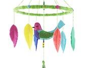 Whisper Bird Baby Mobile No.2, Bird Nursery Decor, Baby Girl Mobile, Baby Boy Mobile