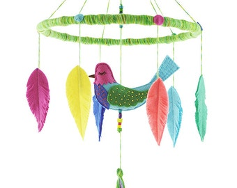 Whisper Bird Baby Mobile No.2, Bird Nursery Decor, Baby Girl Mobile, Baby Boy Mobile