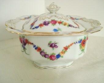 Shabby Sugar Bowl Epiag Czechoslovakia Floral Garland Shabby Cottage Chic