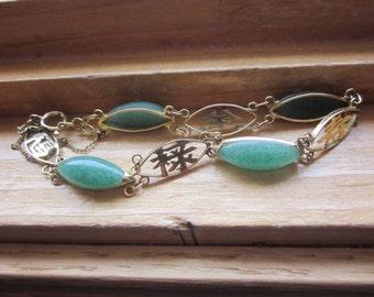 14K Gold Jade Bracelet, Vintage Estate 14K Gold Translucent Marquise Genuine Green Jade Bracelet Anniversary, Birthday, Good Luck and Health