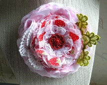 Strawberries N Cream, Lace, Pink , Brooch, Corsage, Hat Pin, Hair Barrette, Country Wedding, Textile Corsage Brooch, Floral Bridal Sash