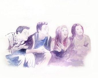Friends series original watercolor movie illustration, original painting