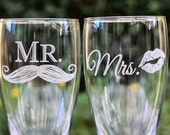 Mr and Mrs Beer Glasses, Set of Etched Pilsners, Wedding Favor, Mustache and Lips, Wedding Gift, Anniversary Gift
