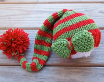 Newborn Baby CHRISTMAS Knitted Striped Elf Hat with DETACHABLE BOW for Photography Props