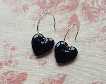 Black Heart Earrings. Black Earrings. Enamel Heart Earrings. Sterling Silver Earrings.  Black Drop Earrings. Dangle Earrings. UK Seller