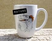 DINOSAURS Dirty Dishes mug-- velociraptor-- mature