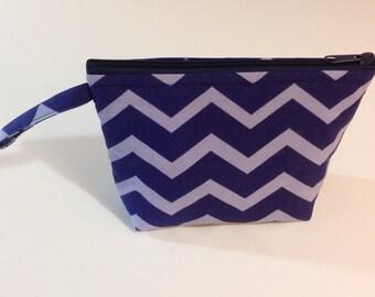 Chevron Shades of Blue Make Up Bag - Accessory - Cosmetic Bag