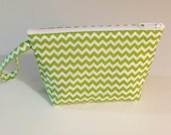 Green Chevron Make Up Bag - Accessory - Cosmetic Bag - Gift