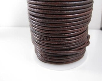 Natural Round Leather, Distressed Brown Leather Cord, natural dye, 3mm cord