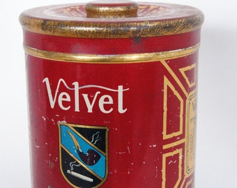 Vintage VELVET Pipe and Cigarette Tobacco TIN with Lid Storage Advertising