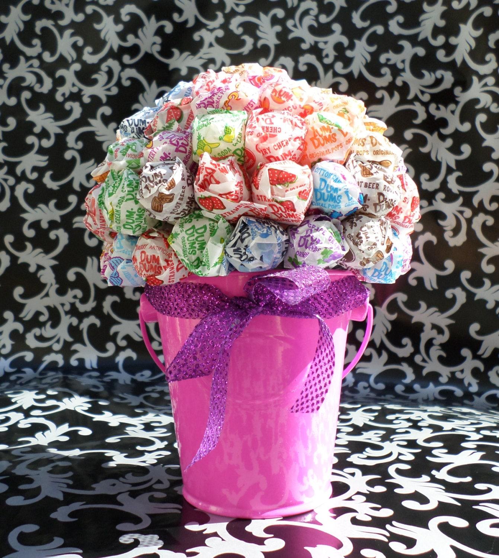 Pink dum lollipop bouquet centerpiece