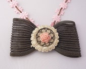 Steampunk Brass Mesh Bow Tie Choker with Pink Flower Cord -- Pink and Punk