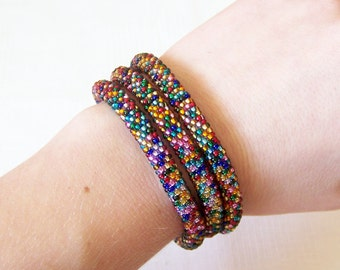 3 Strand Colorful  Multicolor Bead Crochet Bracelet - Bright Mosaic bracelet - silver lined multicolor bracelet