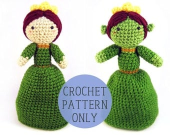 PATTERN ONLY - Princess Fiona inspired topsy turvy doll