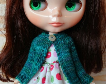 BLYTHE doll hand knit wool cardigan sweater - teal mix