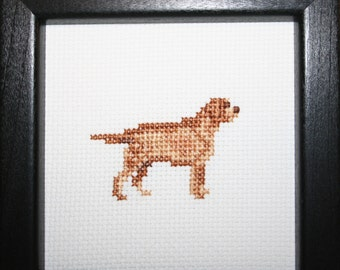 Retriever Labrador Yellow Cross Stitched Full Body Dog.