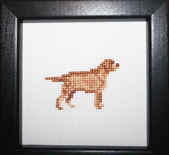 Retriever Labrador Yellow Cross Stitched Full Body Dog.