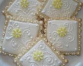 Reserved for Robyn - Bridal Shower, Wedding, Birthday Elegant Floral Swirl Decorated Sugar Cook - 4 Dozen