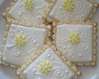 Bridal Shower, Wedding, Birthday Elegant Floral Swirl Decorated Sugar Cookie - 1 Dozen